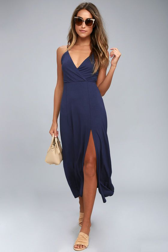82db3bb6882 Take the Time to Tango Navy Blue Midi Dress out for a twirl! Soft jersey  knit shapes this simple-yet-sexy midi dress with adjustable straps