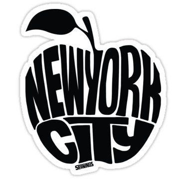 Nyc big apple white sticker graphic bumper window sic