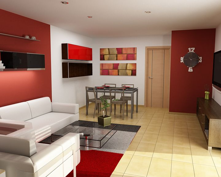 Rojo y blanco dise o de interiores pinterest sala for Diseno de interiores living comedor