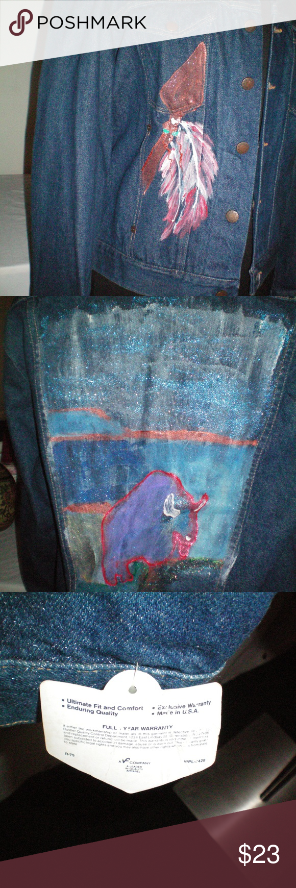 Rustler Women's Large Denim Jean Jacket Rustler Women's Large Denim Jean Jacket Buffalo/feather Mural On Back- SZ Large  Hand Painted Denim Blue Jean Jacket Womens Size Large. Condition is new with tags  Rustler Woman's Large Denim Jean Jacket Buffalo Mural On Back  Size Large Rustler Jackets & Coats Jean Jackets
