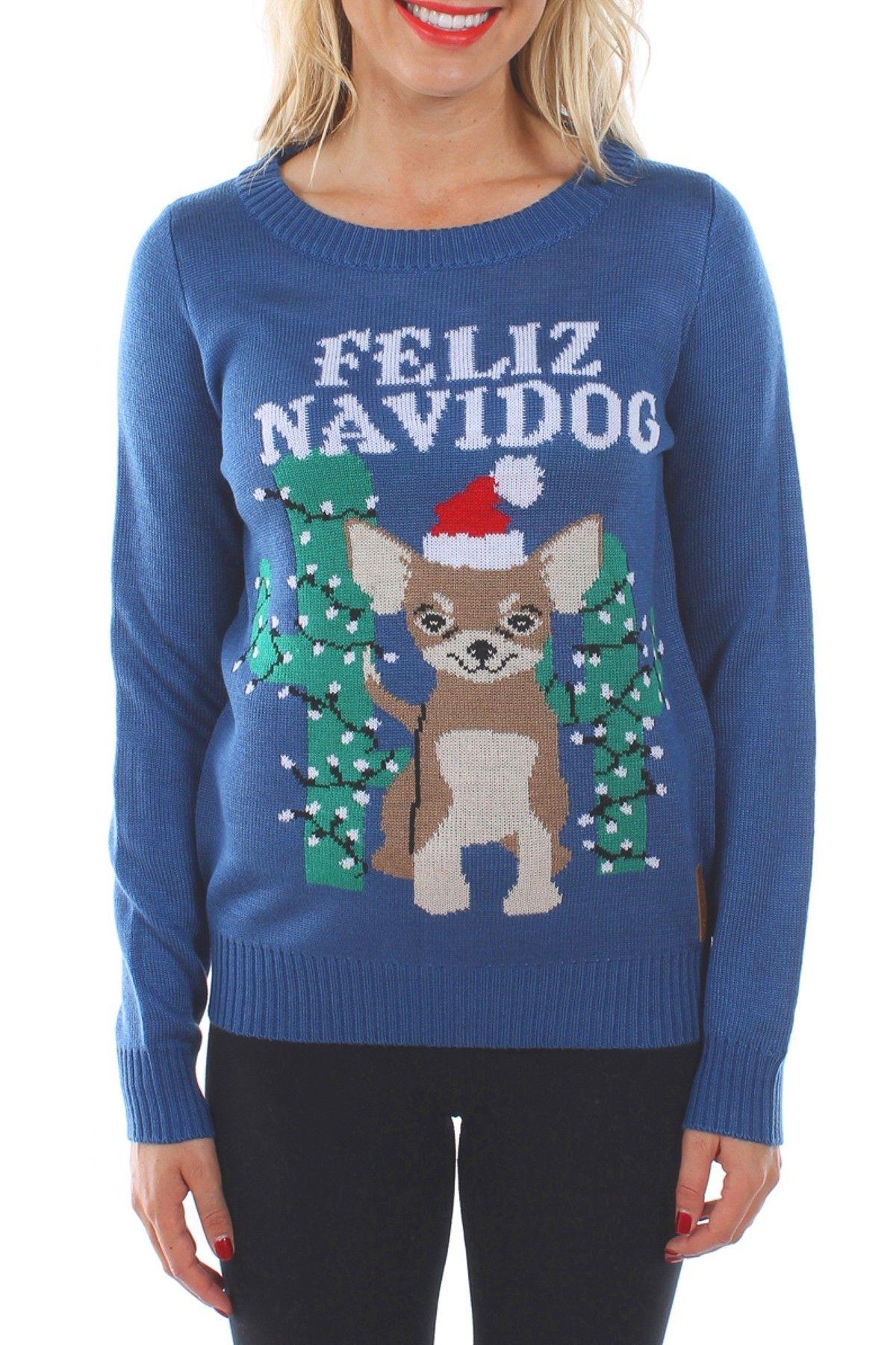 b1e335bcb60 Tipsy Elves Feliz Navidog Sweater Christmas Sweaters For Women