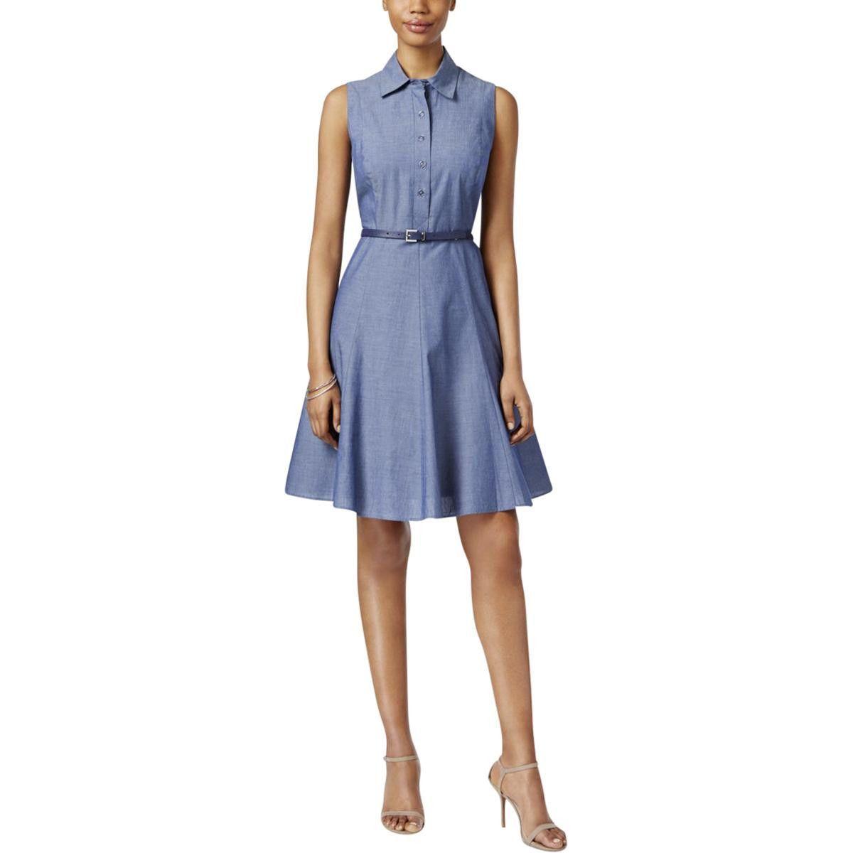 Nine West Womens Chambray Sleeveless Shirtdress Products