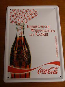 Coca-Cola - Blechschild - Motiv COLA-FLASCHE - OVP - tolle Deko zu WEIHNACHTEN