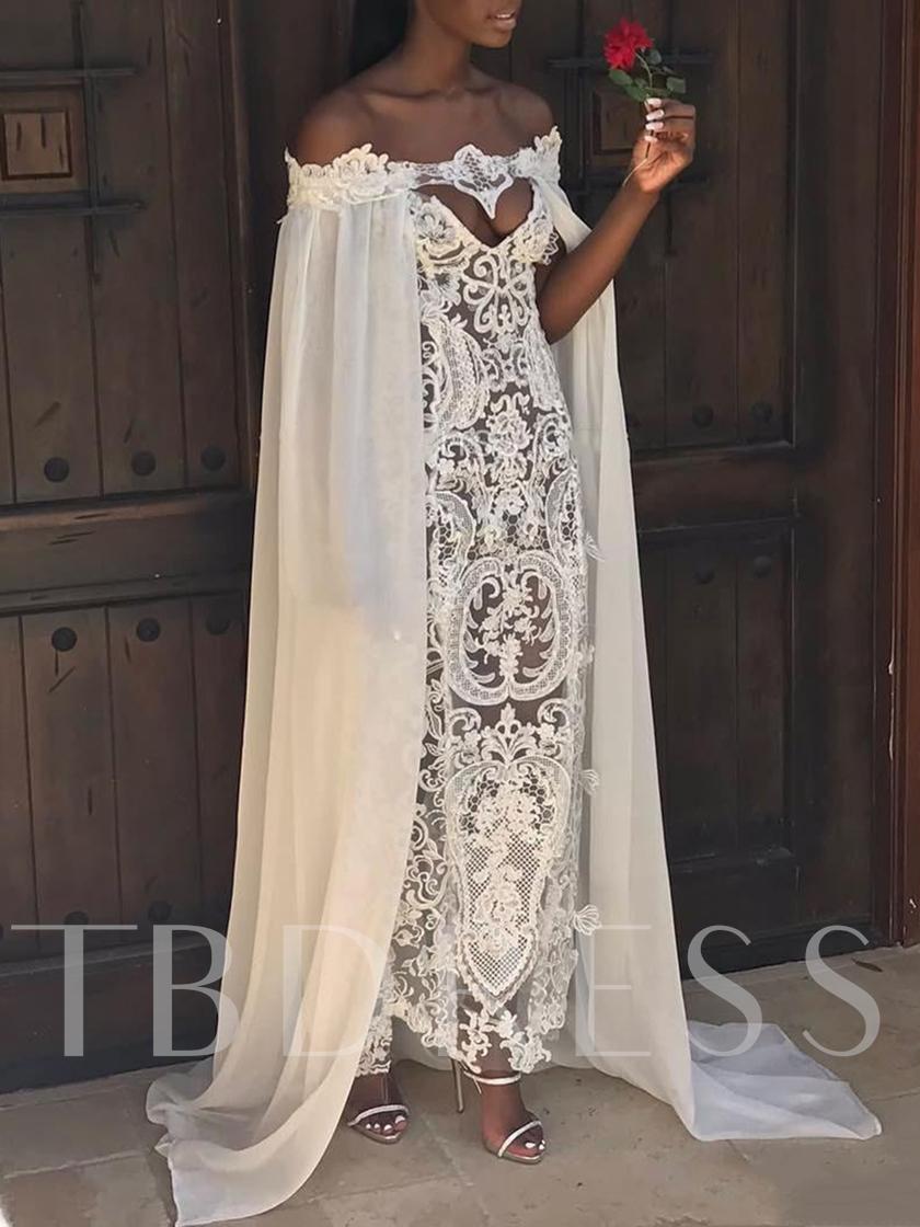 Column OffTheShoulder Hollow Lace Beach Wedding Dress