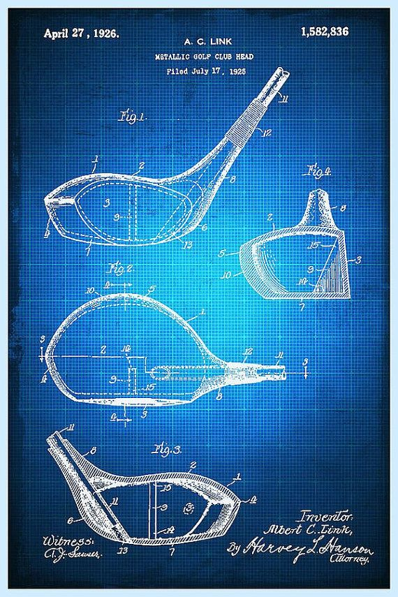 Golf Club Patent Blueprint Drawing - Giclee Print Rooms - new blueprint background image
