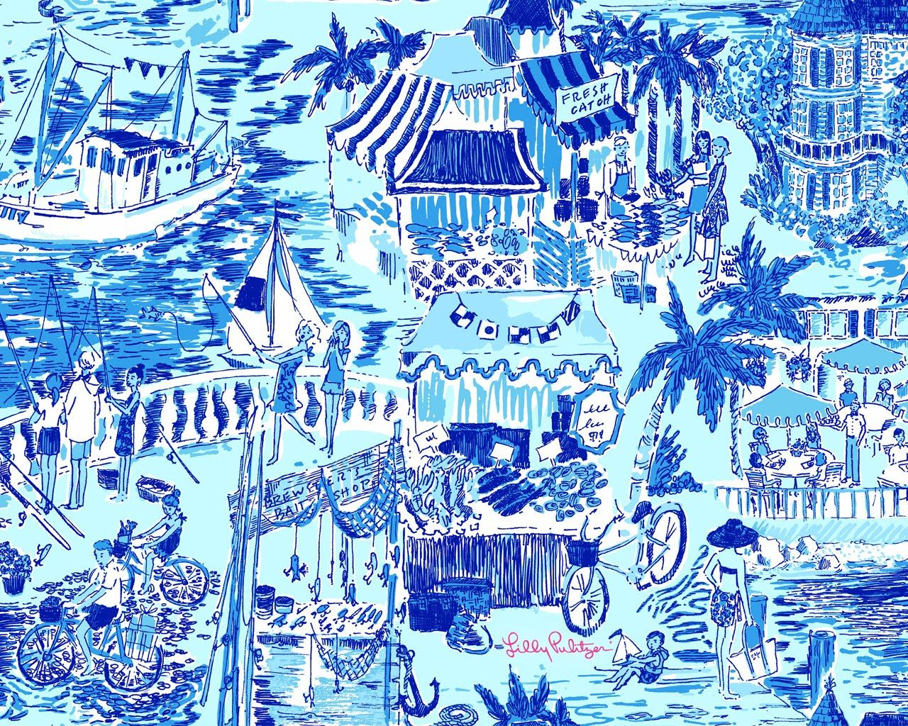 Lilly Pulitzer Patterns Lilly Pulitzer Fresh Catch Toile 2010 All About Blue And