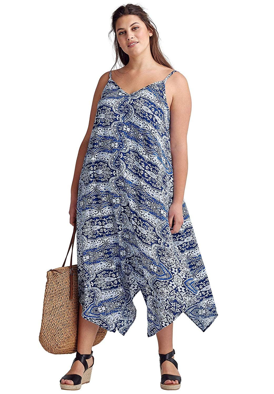 ellos women's plus size printed hanky hem dress at amazon