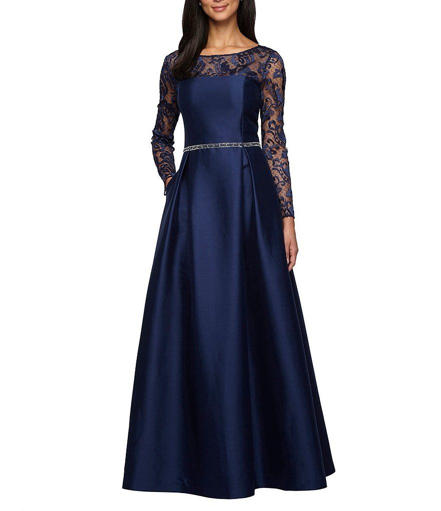 Alex Evenings Long-Sleeve Illusion-Yoke Ballgown