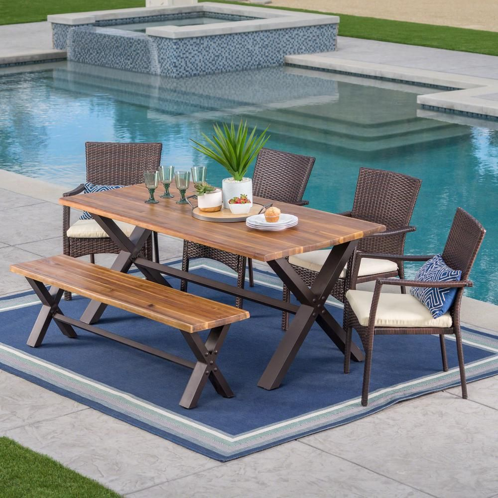Noble House 6 Piece Wicker Wood And Metal Rectangular Outdoor Dining Set With Beige Cushion 24304 Outdoor Dining Table Setting Wicker Dining Set Outdoor Dining Table