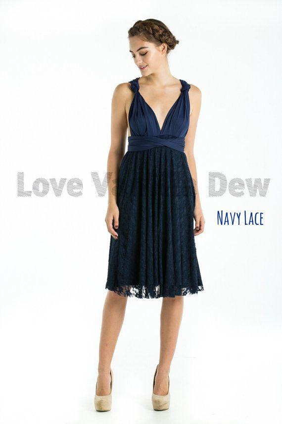 Bridesmaid Dress Infinity Dress Navy Lace Knee Length Wrap ...