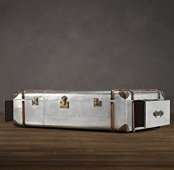 polished aluminum trunk coffee table from restoration hardware