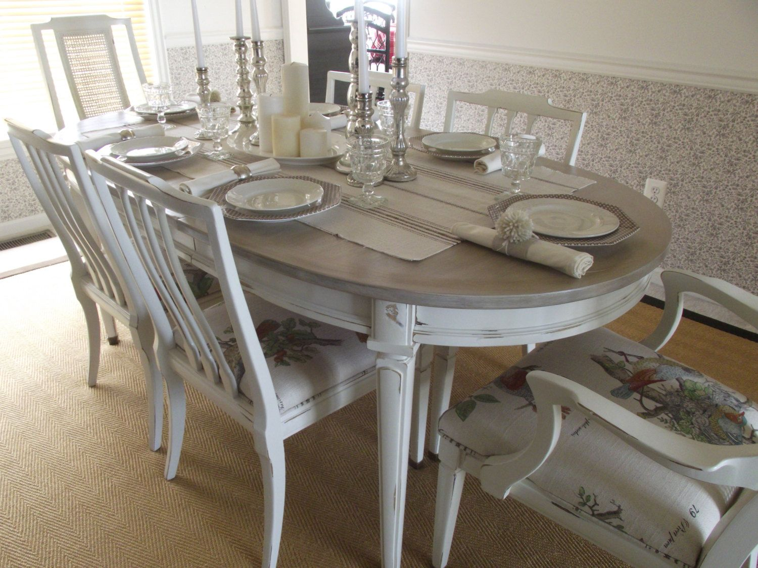 Vintage French Country Dining Table And Chairs By MeAndPhoebe 1 De