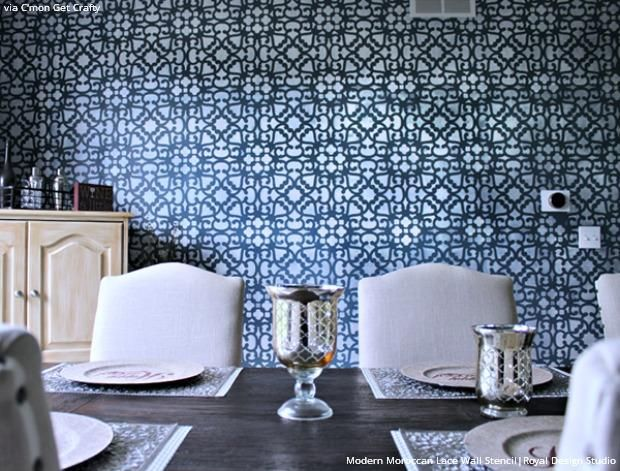 Dare To Be Different With Dining Room Stencils Lace Wall Stencil Stencils Wall Dining Room Walls