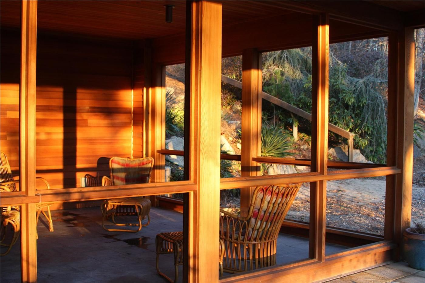 Screened porch with sunset light in Wellfleet Cape cod
