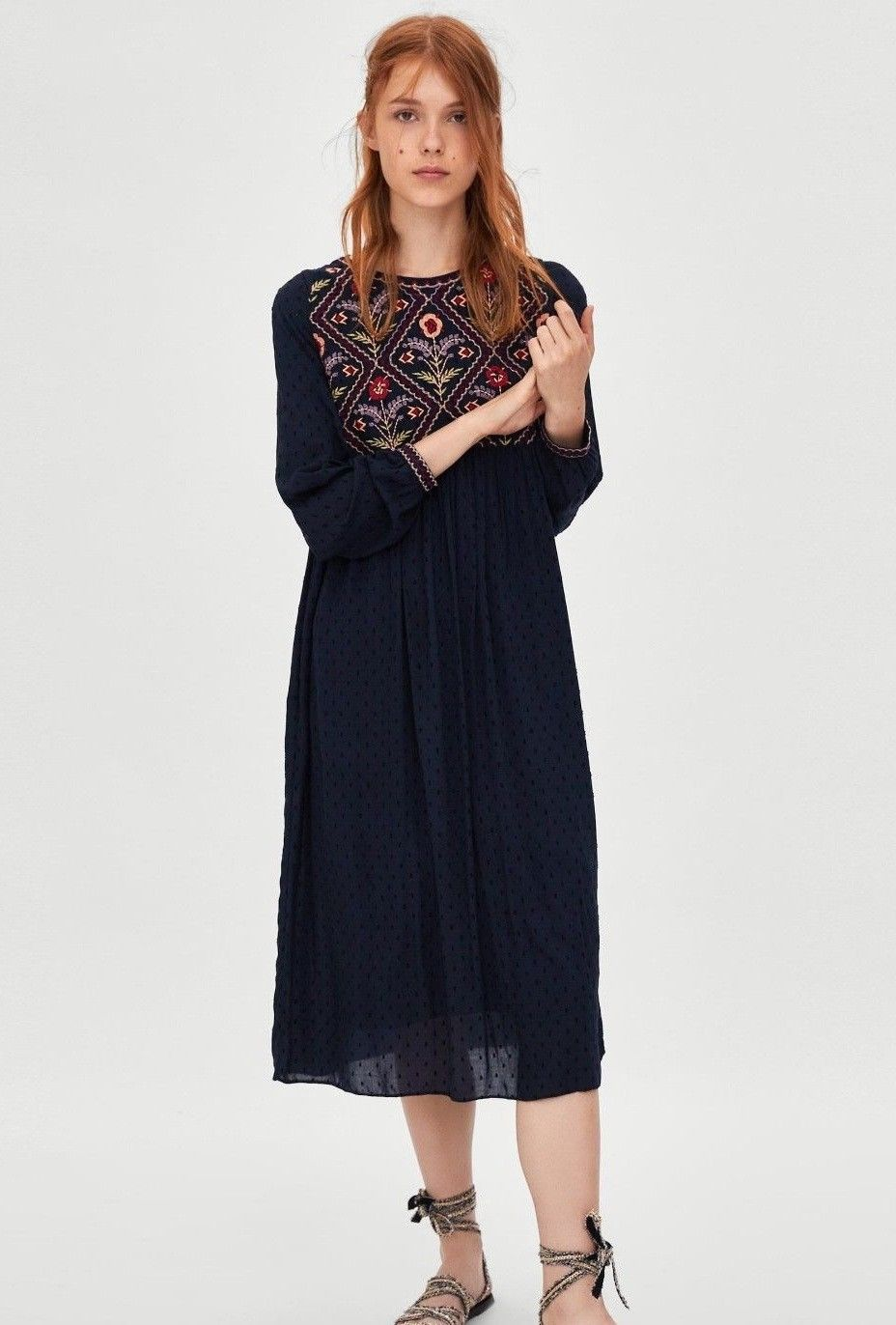 0d355dde4ef Zara Navy Blue Embroidered Dotted Mesh Plumetis Midi Dress Size M UK ...