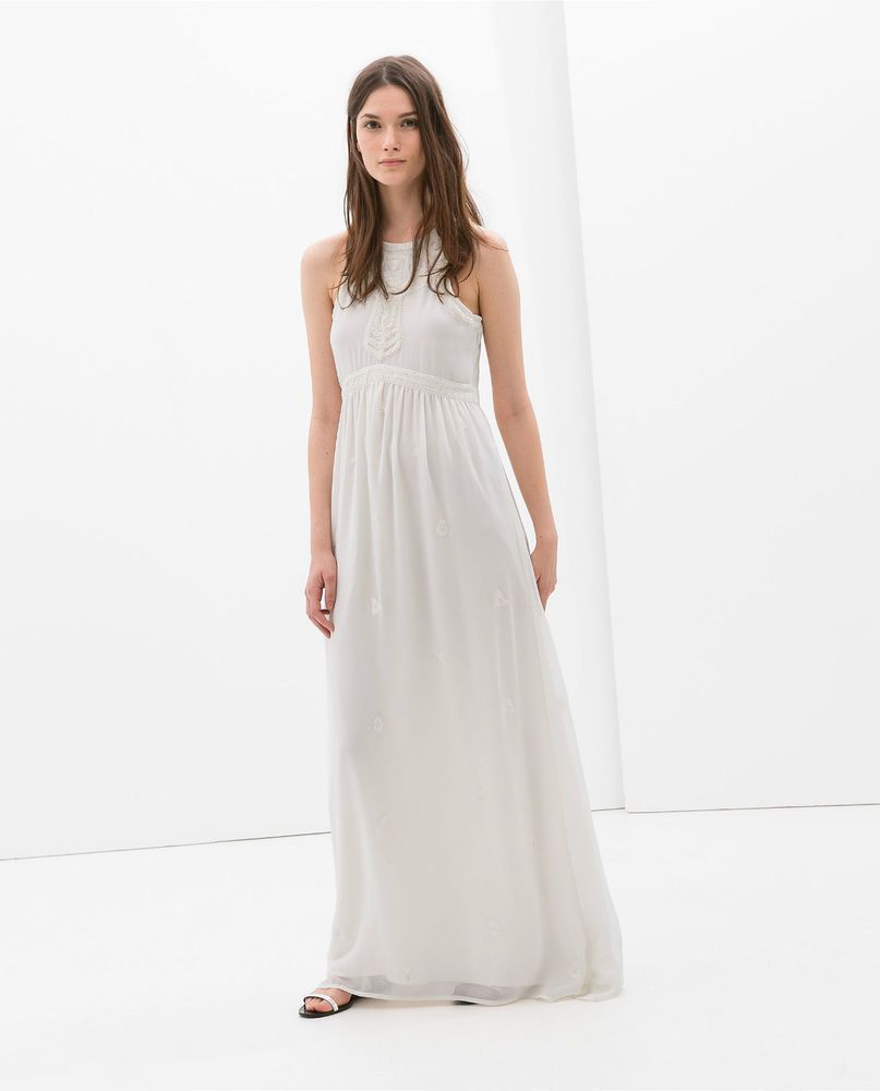 fcbac5ba8265 ZARA Woman BNWT Off White Ecru Long Embroidered Dress MEDIUM   LARGE  5770 022
