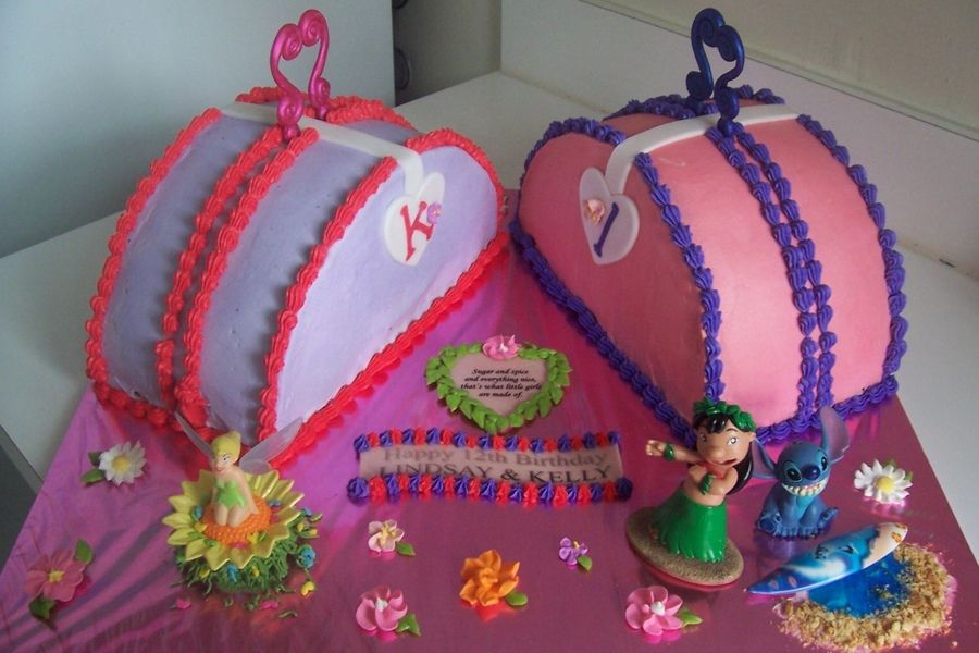 Birthday Cake For Twin Girls Turning 12 Two Purses In Pink And Purple They Wanted Tinkerbell Lilo Stitch Added To Their So I Incorporated It