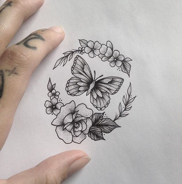 unique tiny tattoo idea butterfly flowers tattoo by medusaloux outloo best small. Black Bedroom Furniture Sets. Home Design Ideas