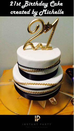 21st Birthday Black Gold White Cake Idea For Girls