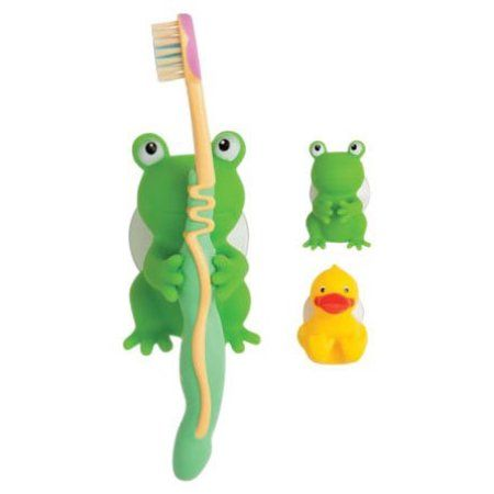 Frog Toothbrush Holder with 4 Suction Cups Green Green