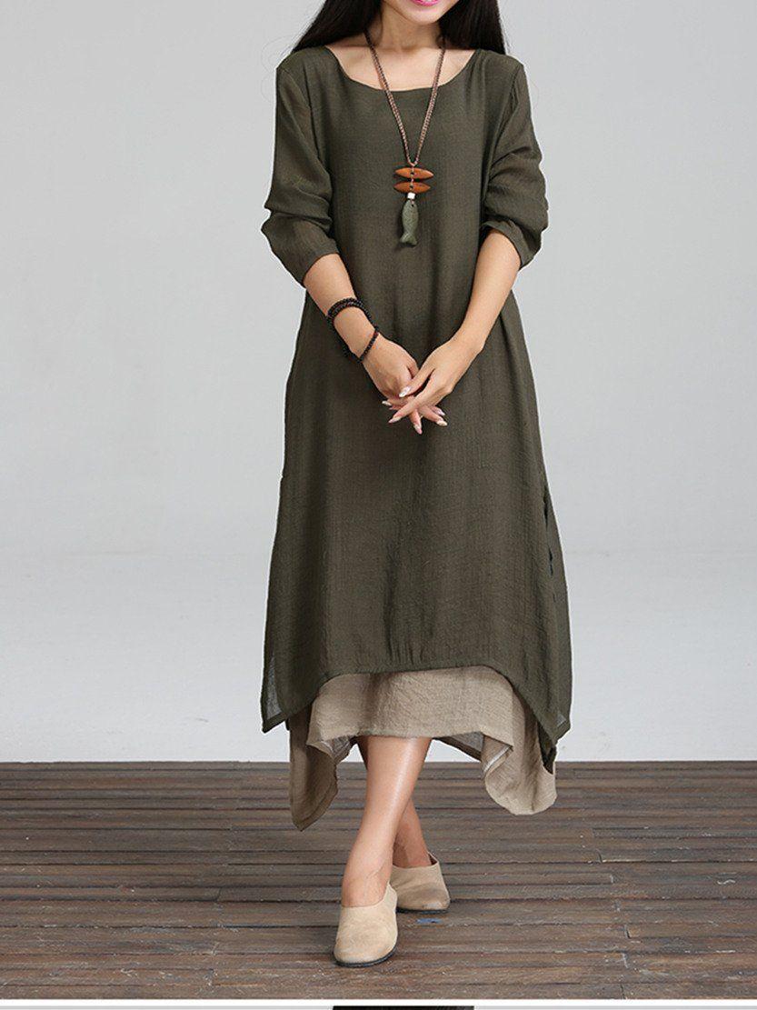 Retro asymmetric long sleeve round collar maxi dress maxi dresses