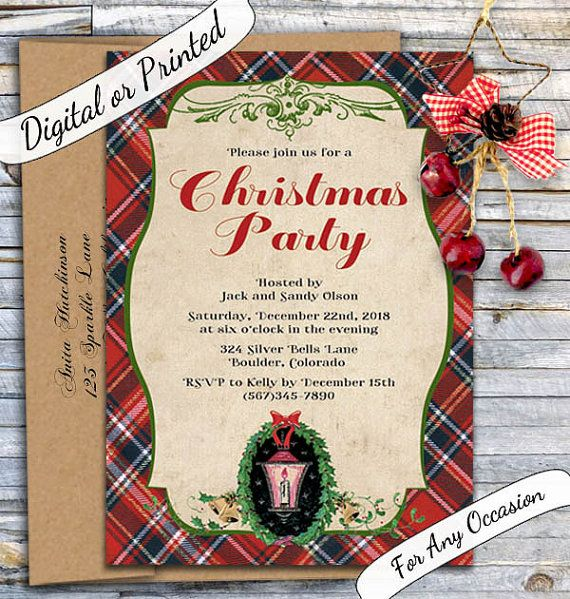Traditional Christmas Party Invitation Vintage Christmas Invitation