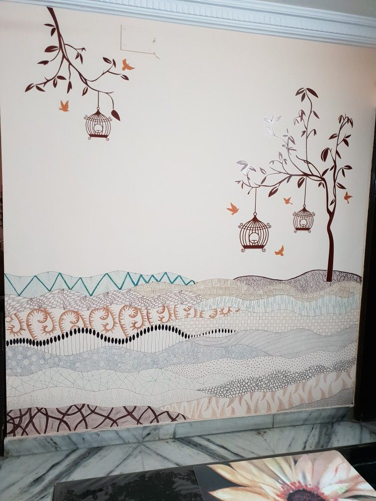 finally done #doodle #decals design 'tree with birds and cages' wall