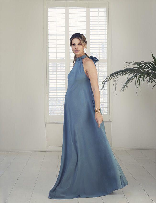 8b2551adf4696 Baby London Magazine - Nine in the Mirror maternity fashion shoot. Kalita  blue silk full-length dress