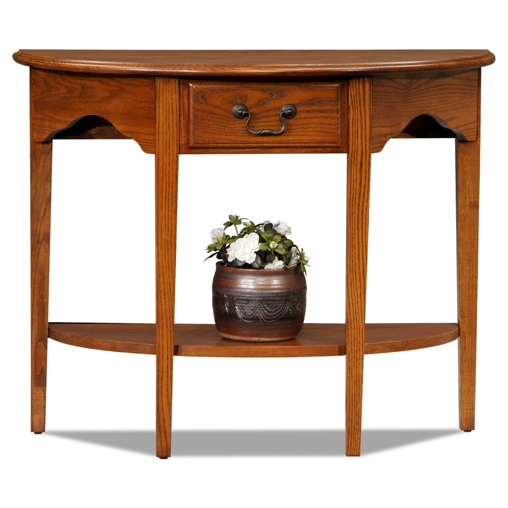 Demilune Console Table Oak - Leick Furniture, Brown