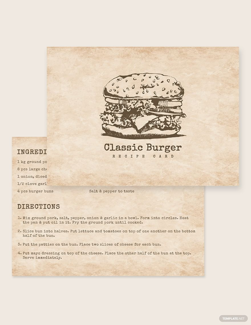 Vintage Recipe Card Template Word Doc Psd Apple Mac Pages Illustrator Publisher Recipe Cards Template Vintage Recipes Recipe Cards