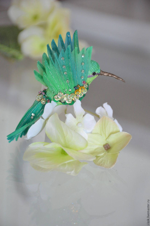 Купить птичка интерьерная - зеленый, птичка, колибри, бисер, шёлк, текстиль