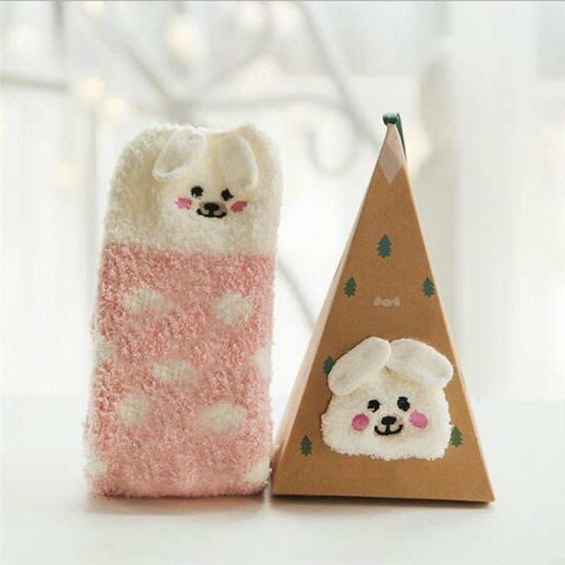 Cute Animal Thick Fluffy Socks with Triangle Box Women Solid Color Winter Warm Cotton Wool Girls' Xmas Socks Christmas Gift