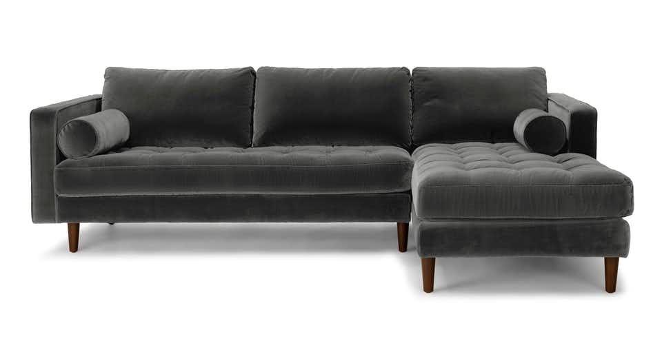 Sven Shadow Gray Sofa Modern Sofa Sectional Mid Century Modern Sectional Sofa Sectional Sofa