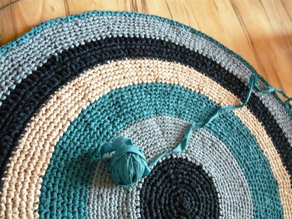 Custom Colors Crochet Rag Rug 6 Ft Large Round Rug Area Rug Fur