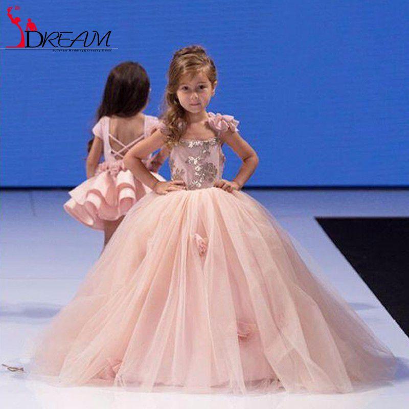 2016 Pink Flower Girl Dresses Puffy Long Sleeve Ball Gown Girls ...