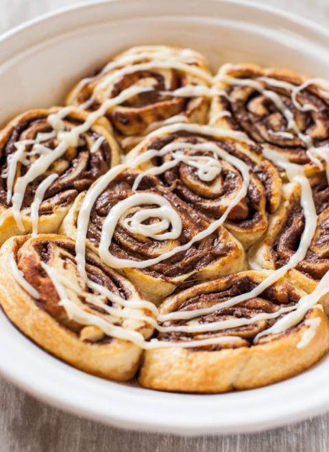 Nutella Cinnamon Rolls with Vanilla Glaze   Recipe ...