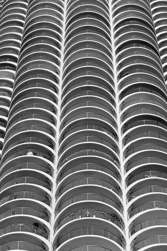Original Abstract Fine Art Photograph Print Of Marina Towers In Chicago Black And White
