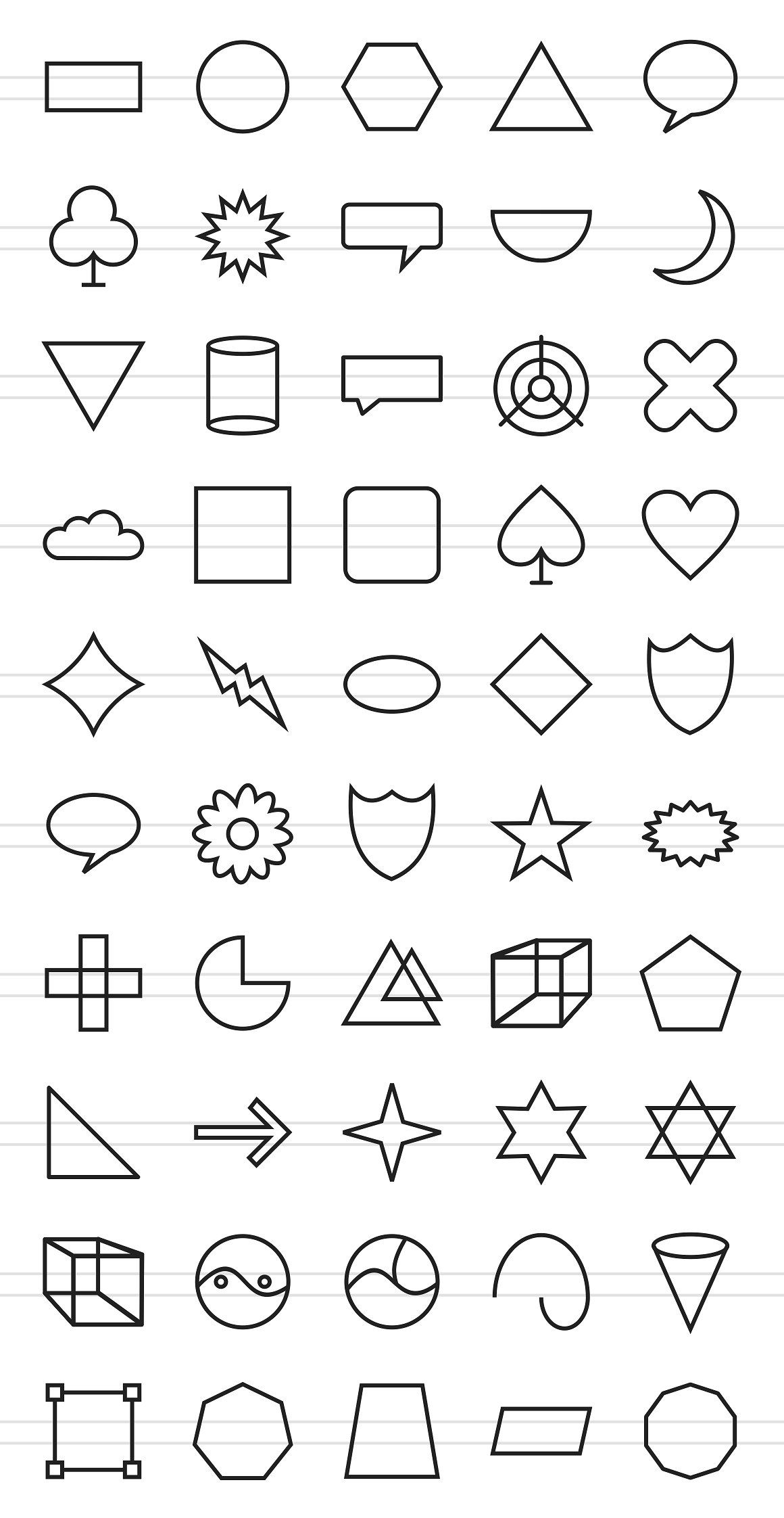 50 Shapes Amp Geometry Line Icons