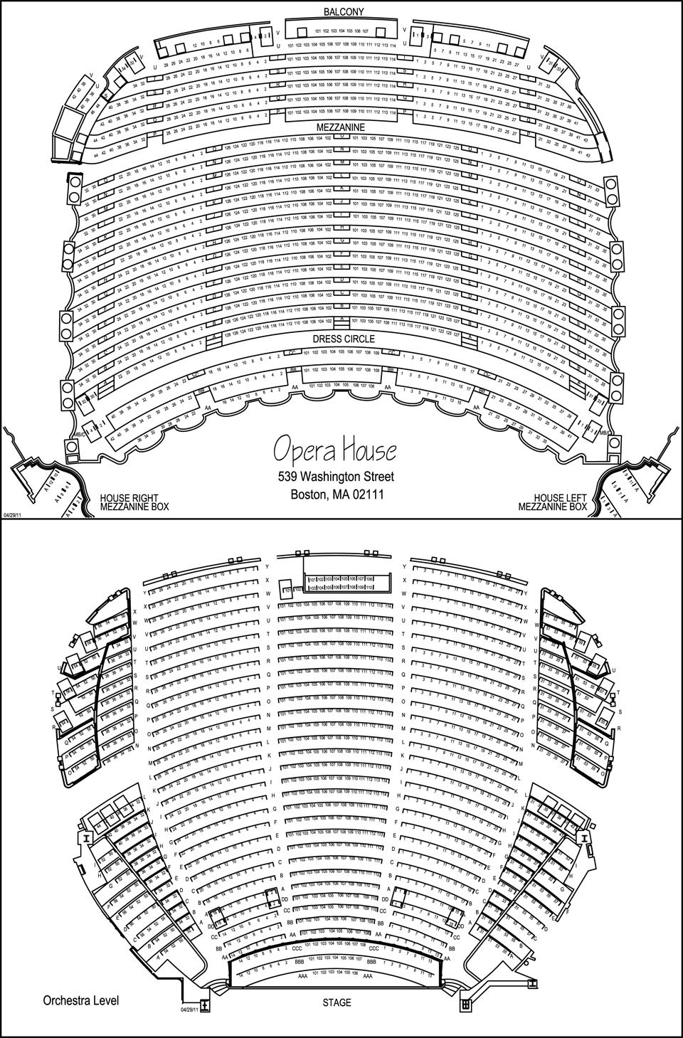 Boston opera house seating chart opera houses theatres opera