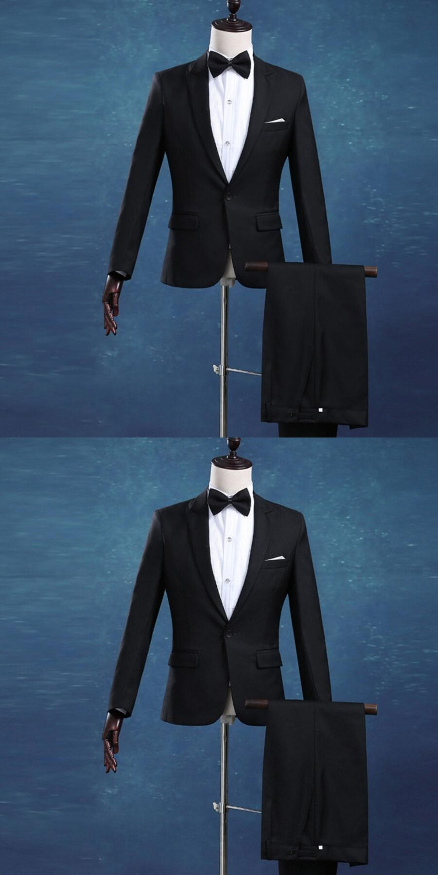 New Men Suits Slim Fit Tuxedo Fashion Bridegroom Business Dress ...