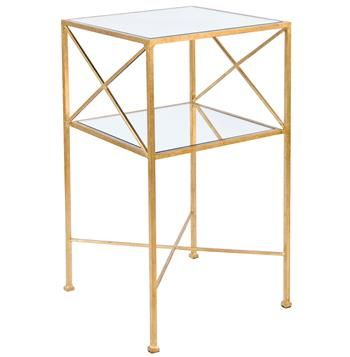 Penelope Hollywood Regency Gold Mirror Side Table. #kathykuohome