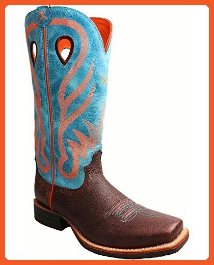 e917e8a4c69 Twisted X Women's Blue Ruff Stock Cowgirl Boot Square Toe Brown 9.5 ...