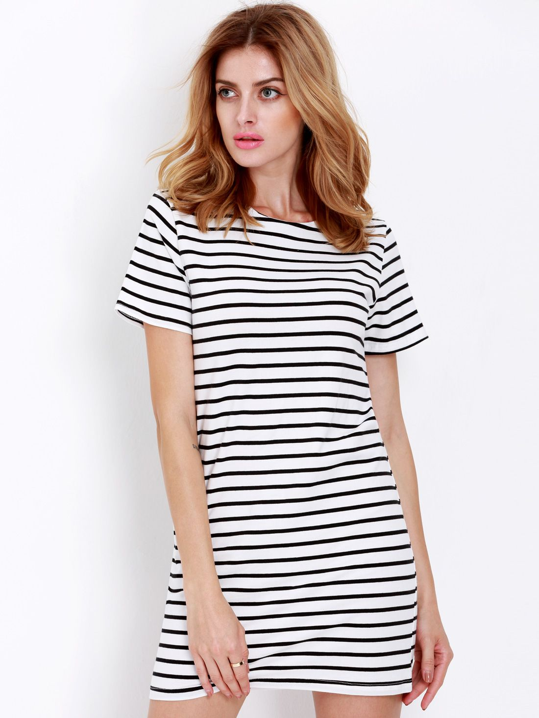 052a57a93 Love the simplicity style. Black White Striped Short Sleeve Straight ...