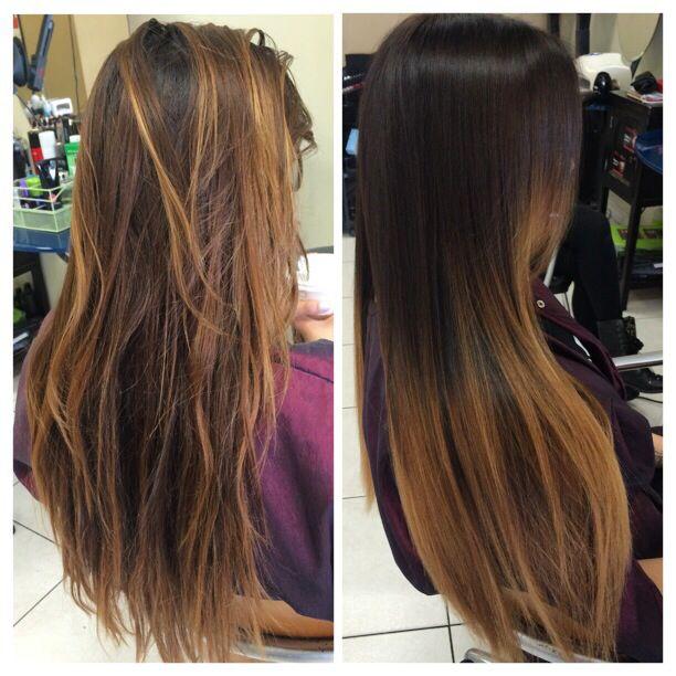 brown to caramel ombre straight hair wwwpixsharkcom