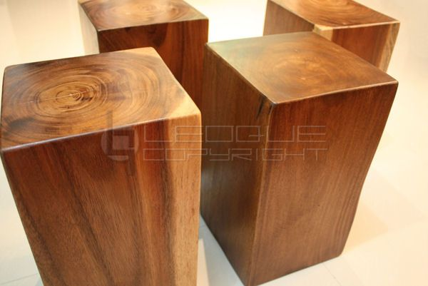 Contemporary wood blocks as tables stools for living room