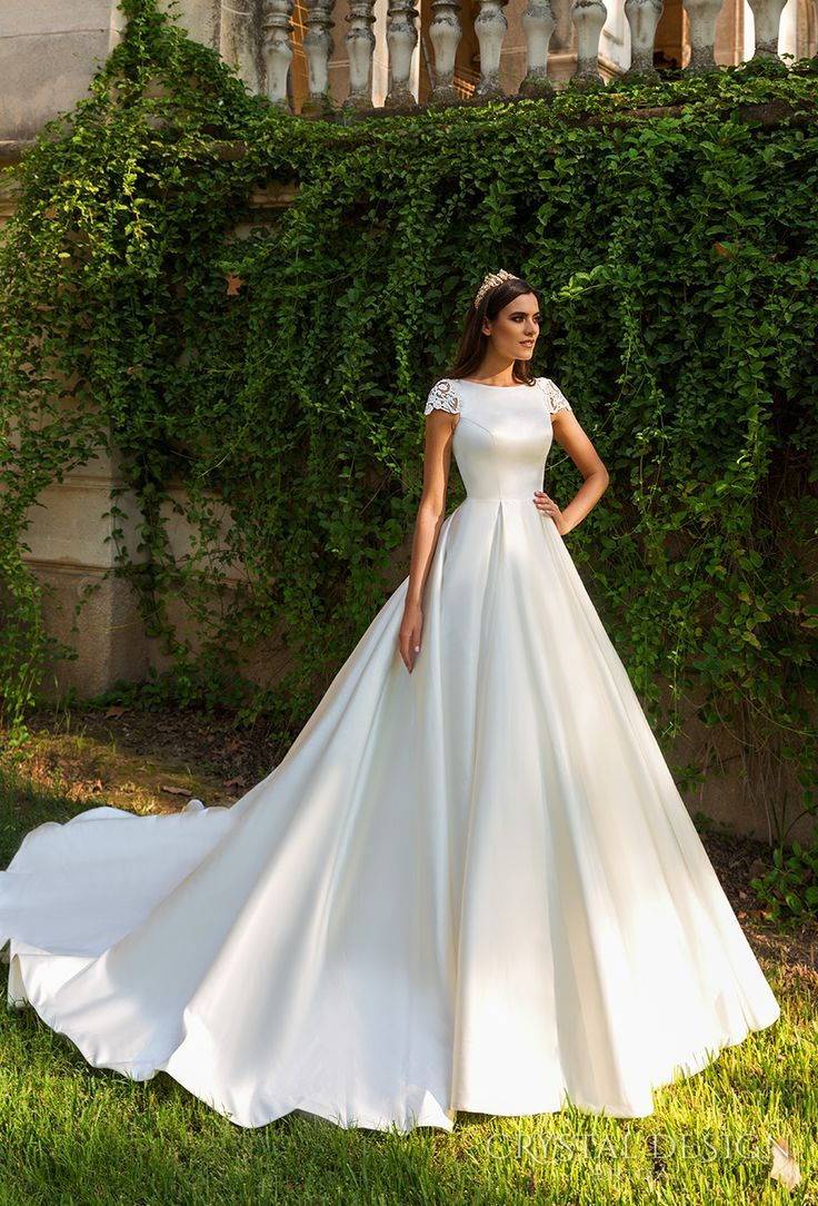Perfect crystal design bridal cap sleeves bateau neckline simple clean classic ball gown a line wedding