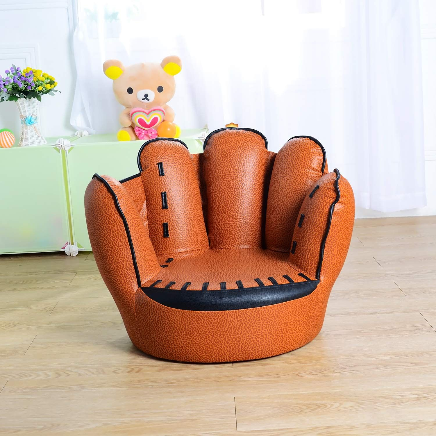 Kids Tv Chair Lifetime Stacking Chairs 2830 For Baseball Glove Sofa Five Finger Style Toddler Armchair Living Room Reading Lounge Bedroom Seat Boys Brown Click On The Image