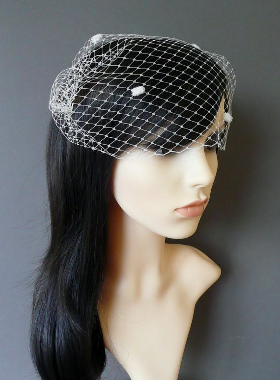 White Birdcage Veil Wedding Bridal Bandeau with double gold or silver plated combs french netting blusher veil /'Lyla/'
