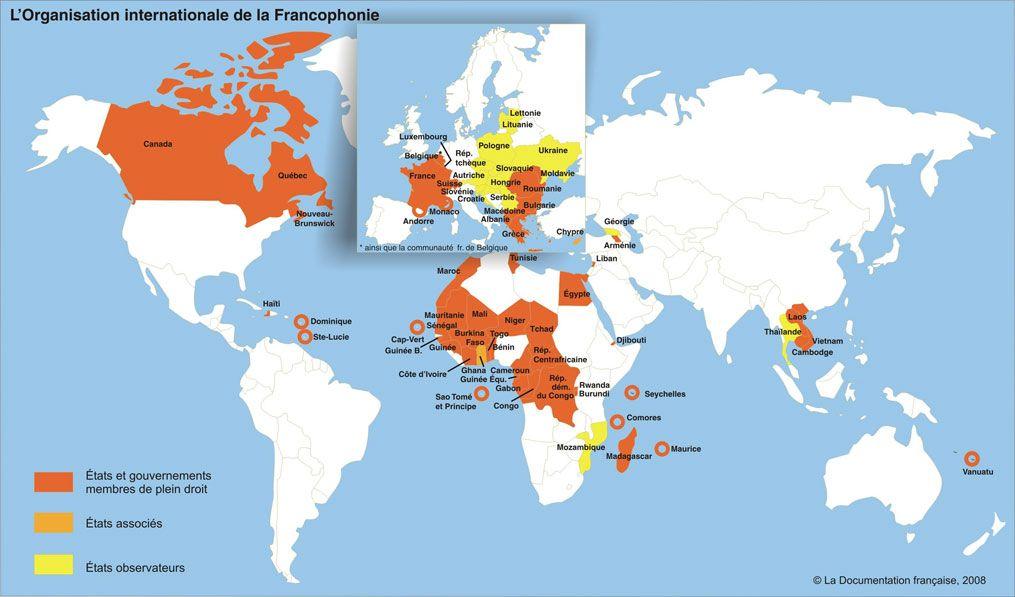 Carte Et Presentation Du Monde Francophone France Premier Jour
