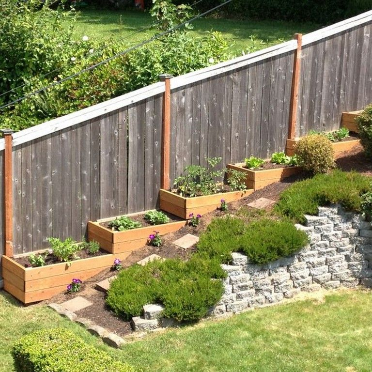 Admirable Minimalist Fence Design Sloped Backyard Backyard Landscaping Designs Sloped Backyard Landscaping